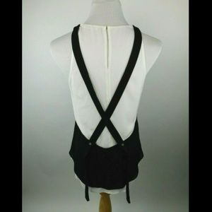 A.L.C. Crossed Strap Back Double Layer Silk Blouse